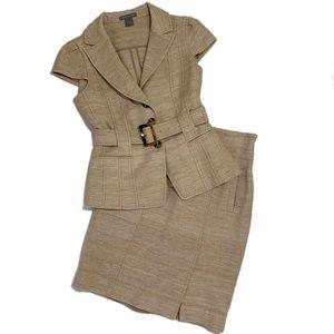 Ann Taylor Tuscan Silk Beige Skirt Suit Set 4